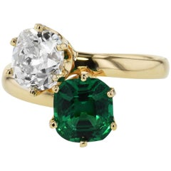 Extremely Rare Tiffany & Co. No Treatment Colombian Emerald and Diamond Ring