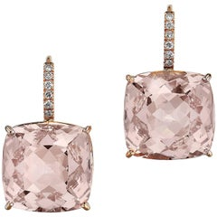 21.58 Carat Morganite and Diamond Lever-Back Earrings
