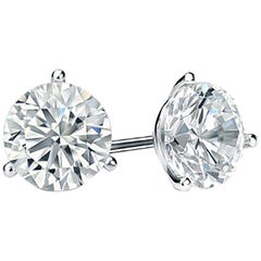 Platinum 4.05 Carat GIA Diamond Stud Earrings
