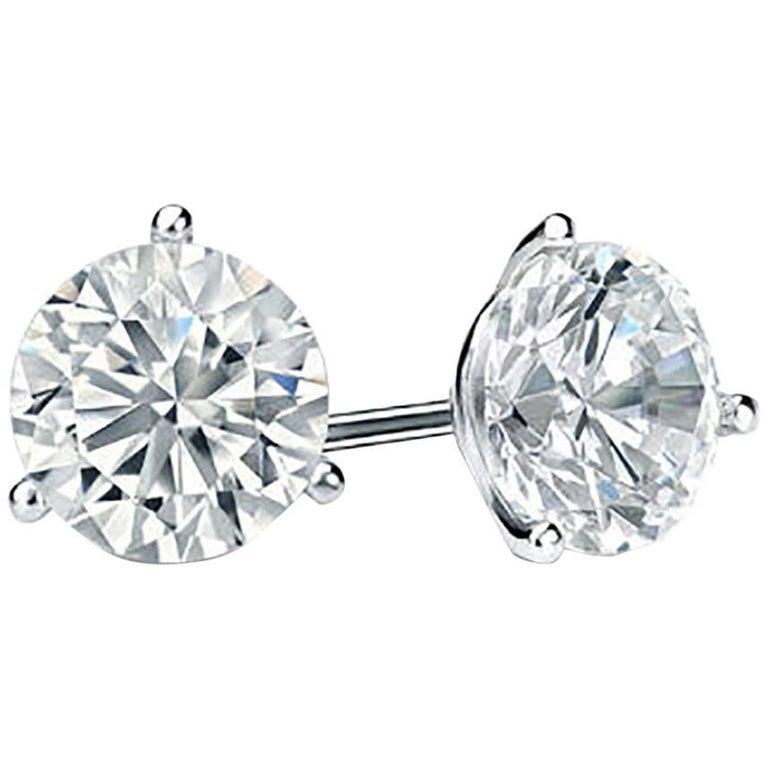 Platinum 4.05 Carat GIA Diamond Stud Earrings