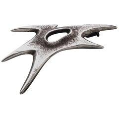 René Delavan Expressive Art Deco Silver Cock's Head Brooch