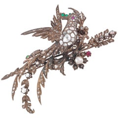 Late Victorian Brooch in Silver and Gold Diamond Pearls