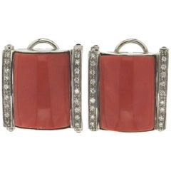 "Natural Coral ""Momo"" White Gold Clip Earrings"