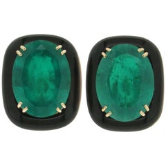 Synthetic Emerald Yellow Gold Clip Earrings