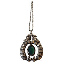 Early Georg Jensen 826 Silver Pendant with Green Stone No. 14