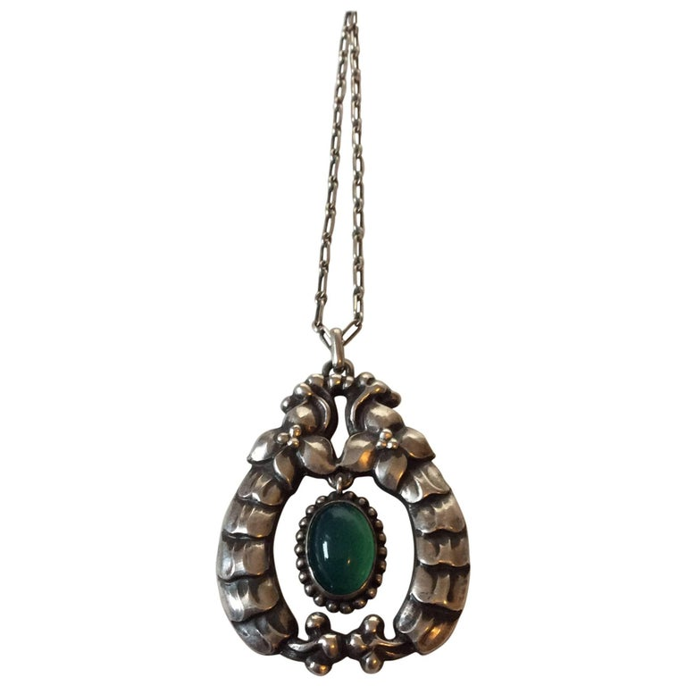 Early georg jensen 826 silver pendant with green stone no 14 for early georg jensen 826 silver pendant with green stone no 14 for sale aloadofball Choice Image