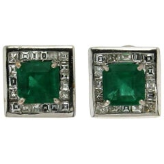 Emeralds White Gold Diamonds Clip Earrings