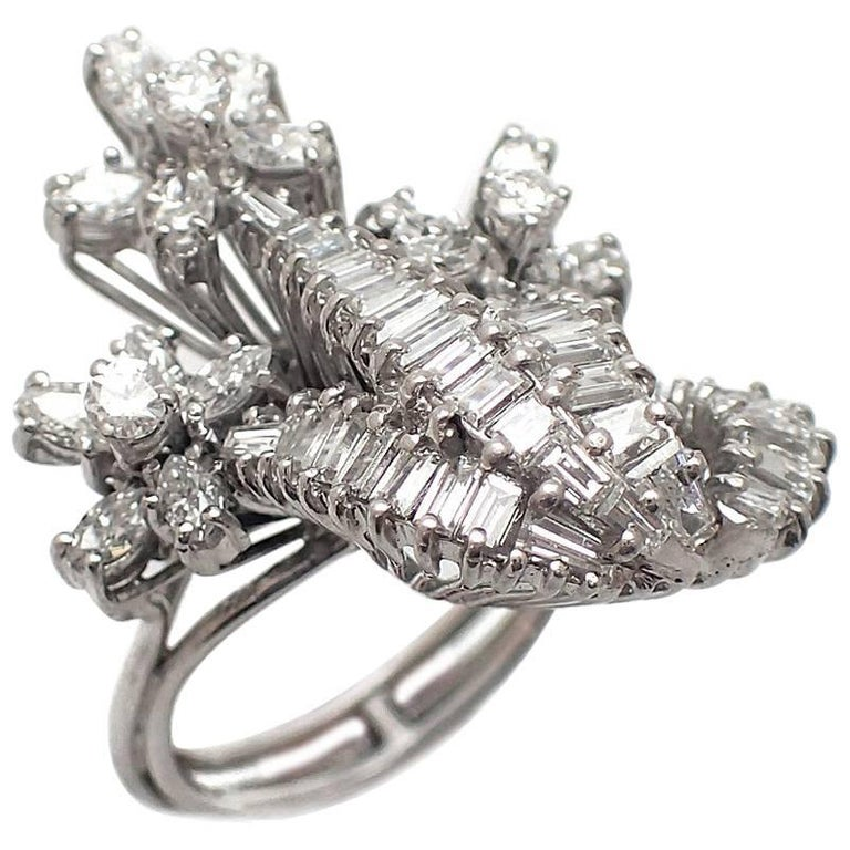 Marquise, Round and Baguette Diamond Cocktail Ring