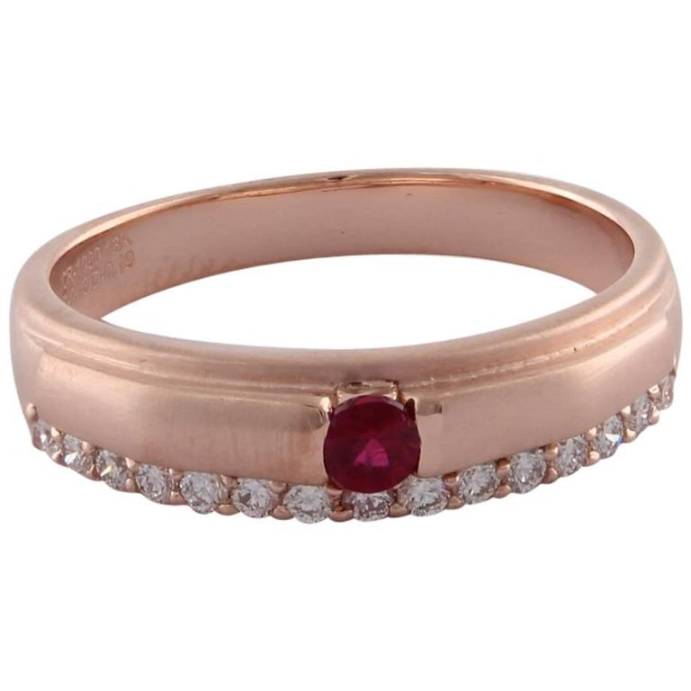 Stackable Ruby and Diamond 18 karat Rose Gold Band Ring