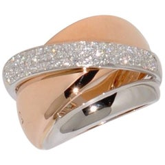 White Diamonds Rose Gold and White Gold 18 Carat Fashion Ring