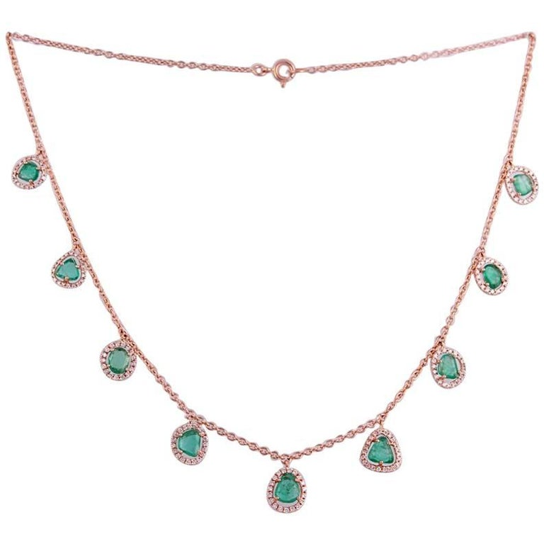 18 Karat Rose Gold Diamond and Emerald Necklace For Sale