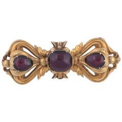 1850s Victorian Garnet Gold Ribbon Brooch