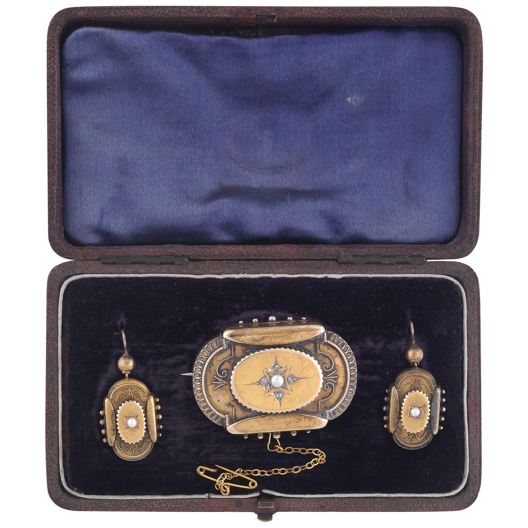 Victorian Brooch Earrings Half Pearl Gold Brooch Earrings Set
