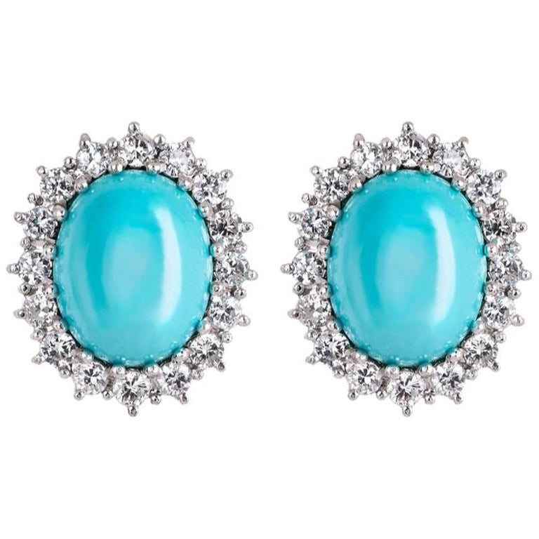 Turquoise and Diamonds Earrings in 18k Gold