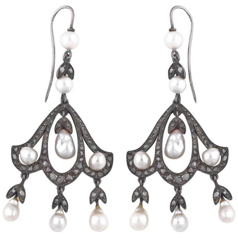 Pair of Pearl Diamond Pendant Earrings