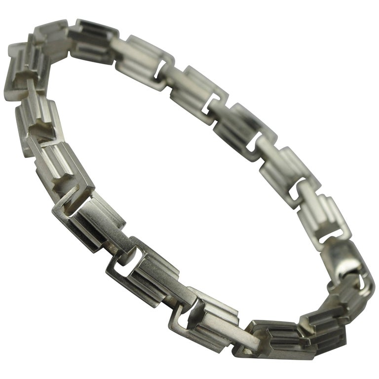 Emer Roberts Sterling Silver Architectural Deco Links Chain Bracelet For Sale