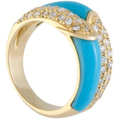 Diamond and Turquoise Double Band Gold Ring