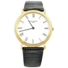 Patek Philippe Yellow Gold Calatrava Dress Quartz Wristwatch Ref 3954J