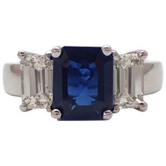 3.24 Carat Emerald cut Sapphire and Diamond Ring in Platinum