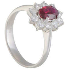 Diamond and Ruby Platinum Flower Ring