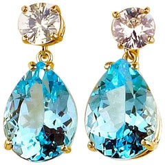 30.64 Carat White Zircons and Blue Topaz Dangling Stud Sterling Silver Earrings