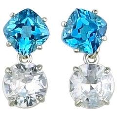 12.66 Carat White Zircon and Blue Topaz Dangling Sterling Silver Stud Earrings