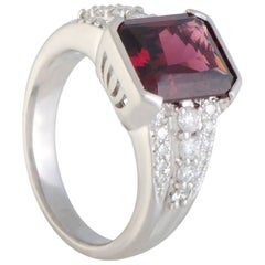 Diamond and Garnet Platinum Cocktail Ring