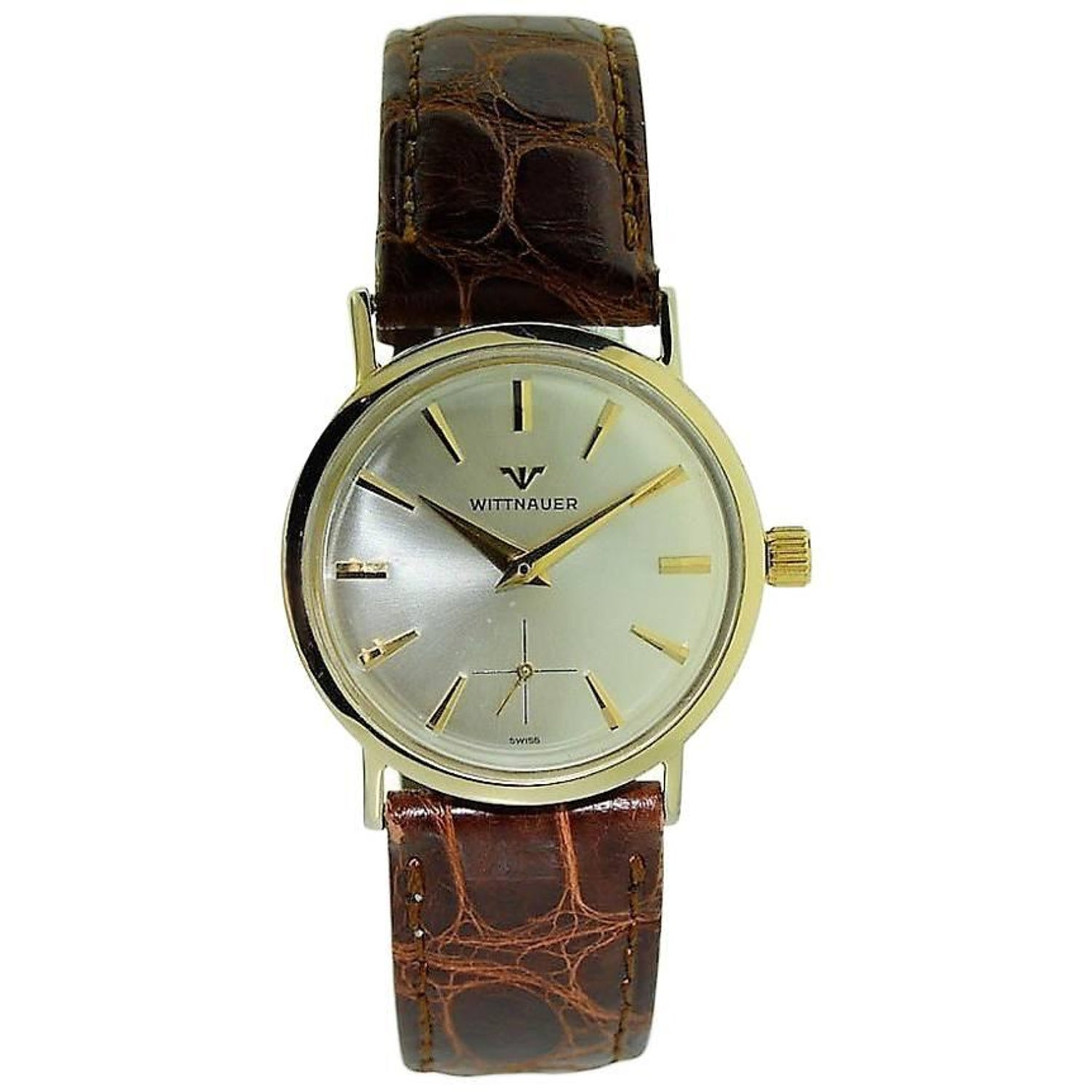 Wittnauer watches 16 for sale at 1stdibs wittnauer solid gold vintage manual wind wristwatch circa 1920s sciox Choice Image