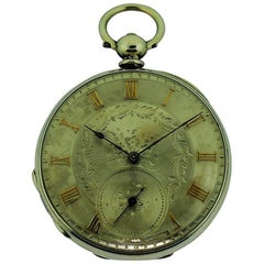 Baume Sterling Silver Keywind Pocket Watch and Key, circa 1845