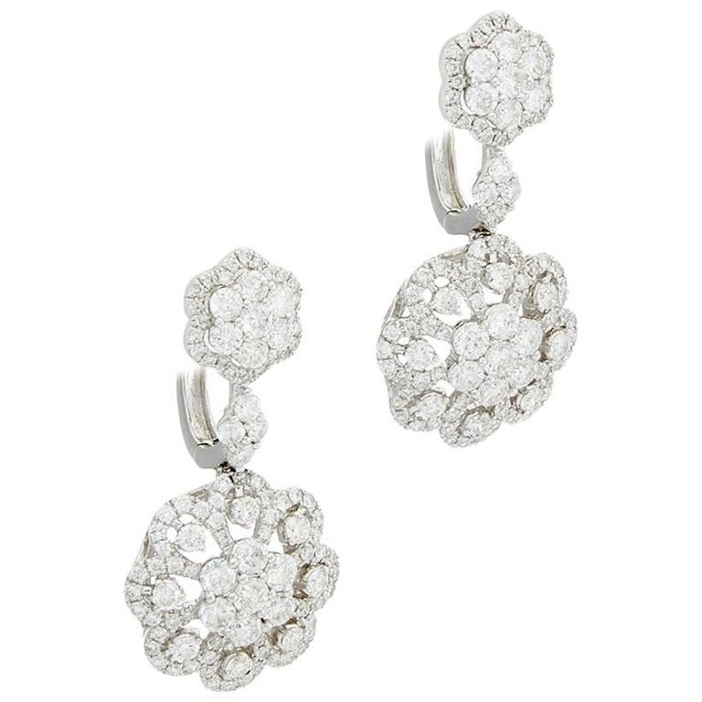Dangle Diamond Earrings in White Gold