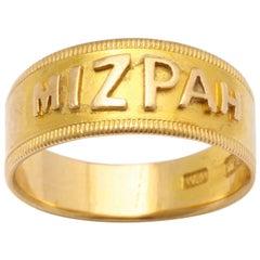 Mizpah 18 Karat Gold Hallmarked Ring, circa 1870
