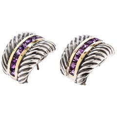 David Yurman Amethyst Sterling Silver and 14 Karat Yellow Gold Cable Earrings