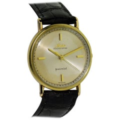 Mido Yellow Gold Ocean Star Art Deco Style Power Wind Watch, circa 1950s