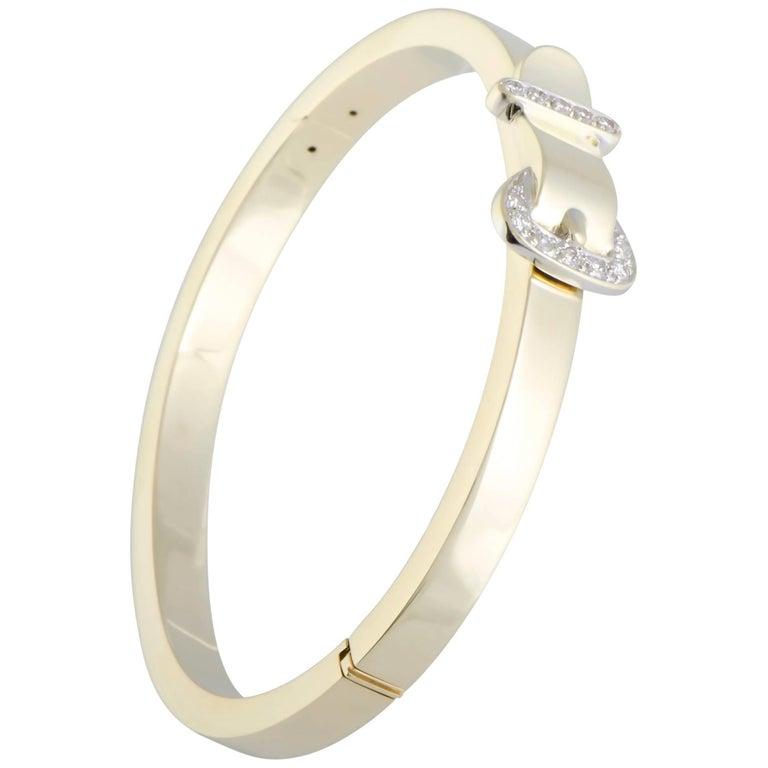 Wempe Diamond Pave Buckle Gold Bangle Bracelet