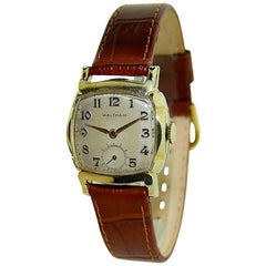 Waltham Yellow Gold Filled Art Deco Cushion Shape Manual Watch, circa 1940s
