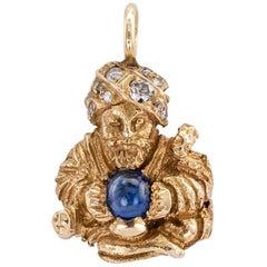 1950s Swami Charm Pendant Sapphire Diamond Gold