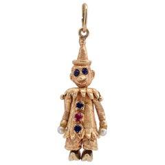 Clown Charm Pendant Ruby Sapphire Pearl Gold