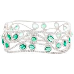 18 Karat White Gold, Diamond and Emerald Bangle