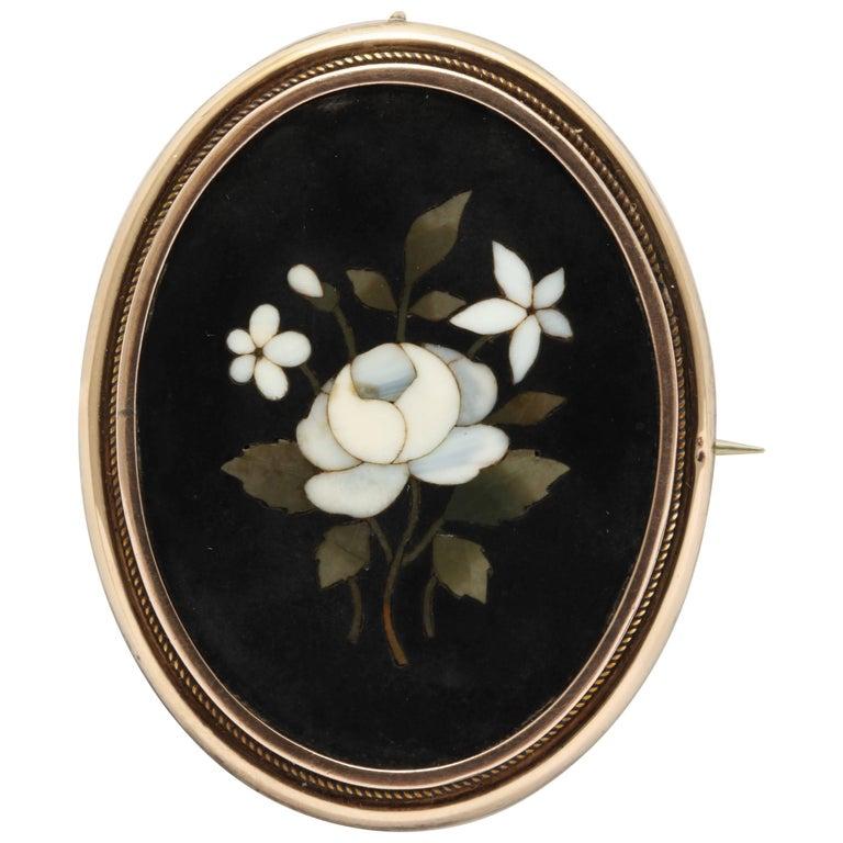 Pietra Dura Forget-Me-Not Specimen Brooch, Locket Back, circa 1860