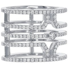 18 Karat White Gold Multi Row Diamond Ring