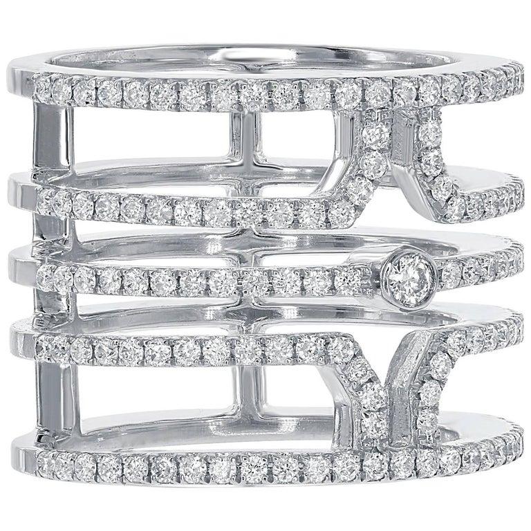 18 Karat White Gold Multi Row Diamond Ring