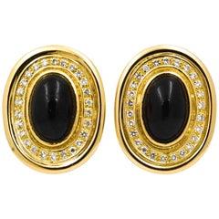 Burle Marx 18 Karat Yellow Gold 1.0 Carat Diamonds Black Onyx Earrings