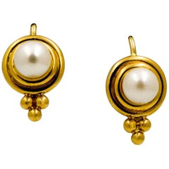 18 Karat Yellow Gold White Cultured Pearl Temple St. Clair Earrings