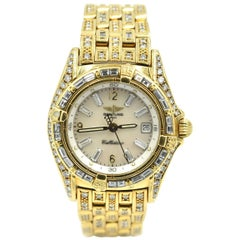Breitling Ladies Yellow Gold Factory Diamonds Callistino quartz Wristwatch