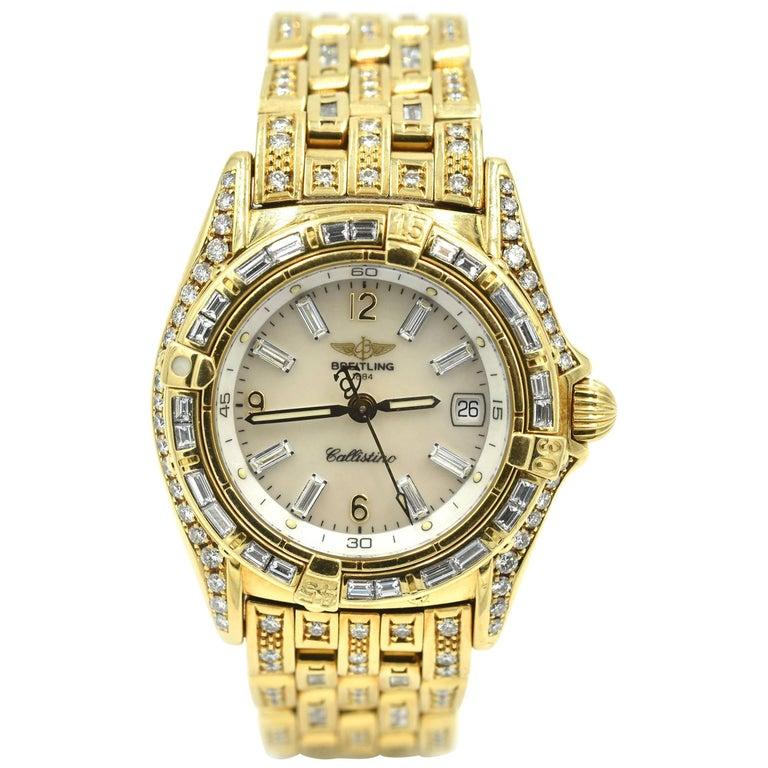 Breitling Ladies Yellow Gold Factory Diamonds Callistino quartz Wristwatch