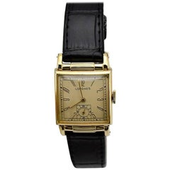 Longines Yellow Gold Filled Art Deco Manual Winding Wristwatch, circa 1940s