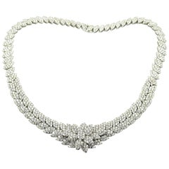 18 Karat White Gold, 34.08 Carat Round Diamond Collar Necklace