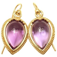 Temple St. Clair Chinese Bead Amethyst Yellow Gold Earrings
