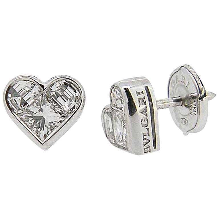Bulgari White Gold Cuore Diamond Stud Earrings