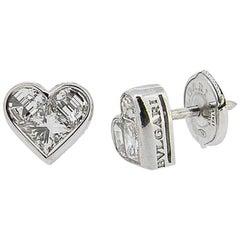 Bulgari White Gold 'Cuore' Diamond Stud Earrings